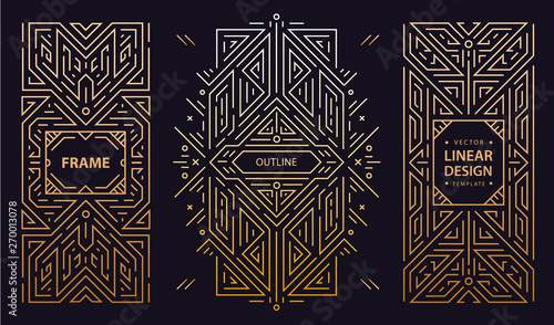Vector set of art deco frames, adges, abstract geometric design templates for luxury products. Linear ornament compositions, vintage. Use for packaging, branding, decoration