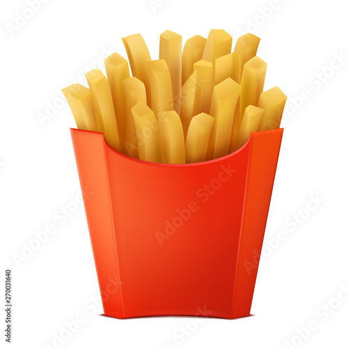 Fotografiet Realistic drawing french fries in the box