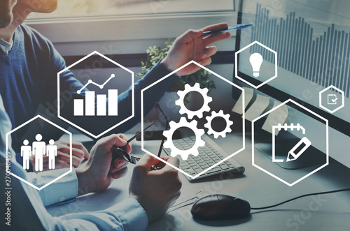 Automation and optimisation concept, business process workflow development Fototapeta