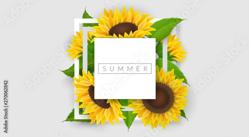 Minimal geometric frame with yellow sunflower and leaf. Vector illustration for summer design, romantic design template or nature related background