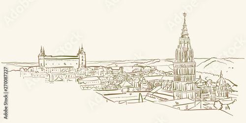 Landmark view drawing of Toledo, Spain