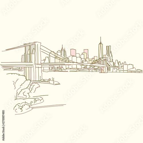 Wallpaper Mural New York Brooklyn Bridge drawing