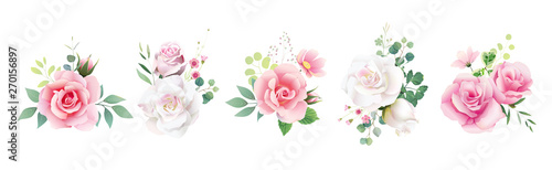 Floral romantic bouquets for wedding invite or greeting card. White pink peach Rose and Anemone flower, Greenery leaves. element set.