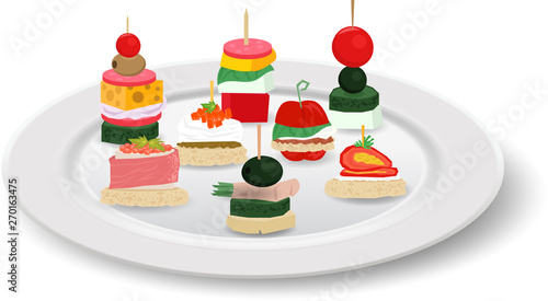 Cuadros en Lienzo colorful canapes in the white plate on the white background