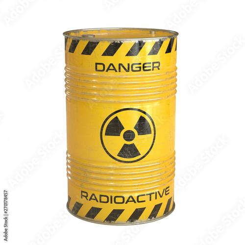 Radioactive waste yellow barrels with radioactive symbol 3d rendering Fototapeta