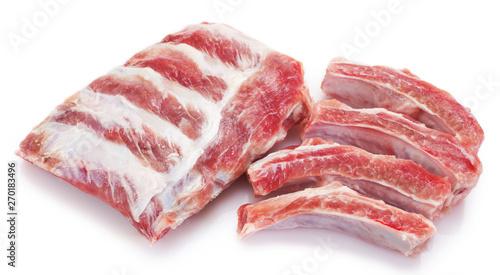 Obraz na plátně Raw pork ribs on white background