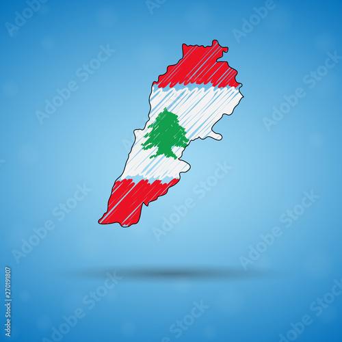 Fototapeta premium Bazgroły mapa Libanu. Szkicowa mapa kraju dla infografiki, broszur i prezentacji, stylizowana szkicowa mapa Libanu. Ilustracja wektorowa eps 10.