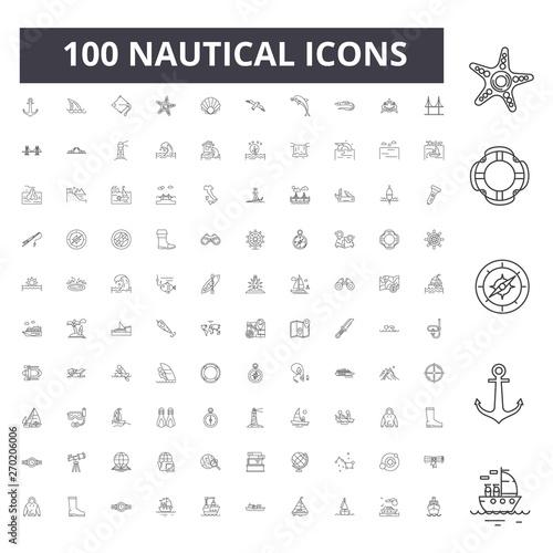 Obraz na plátne Nautical line icons, signs, vector set, outline concept illustration
