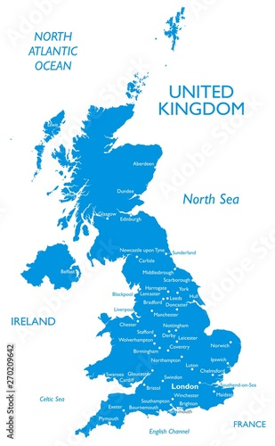 Leinwand Poster Vector map of United kingdom | Outline detailed contour map with city names