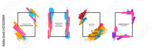 Colorful brush paint background template set