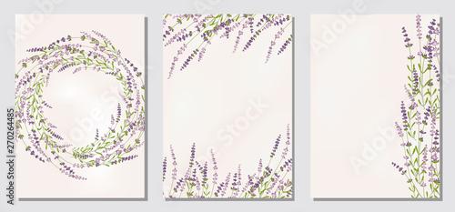 Fotografia Set floral ornament card template leaves floral frame