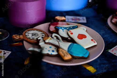 Fotografia Decorations for a mad tea party Alice in Wonderland