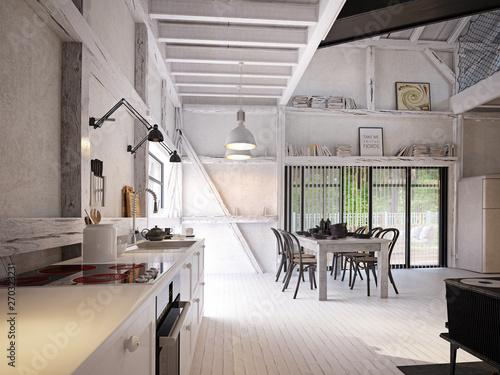 Stampa su Tela country kitchen interior.