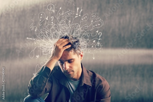 Adhd stress anxiety adult hard man mess Fotobehang