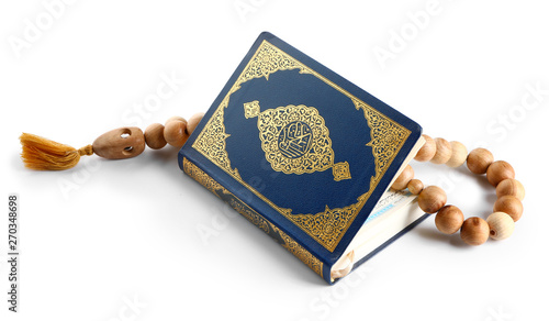 Fotografie, Tablou Muslim beads and Koran on white background