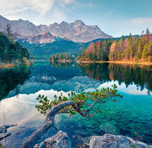 Splendid morning scene of Eibsee lake with Zugspitze mountain range on background Fototapeta