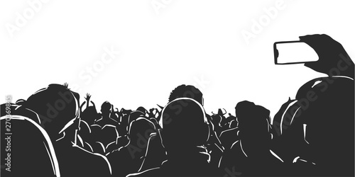 Fotografering Illustration of large crowd of young people at live music event party festival