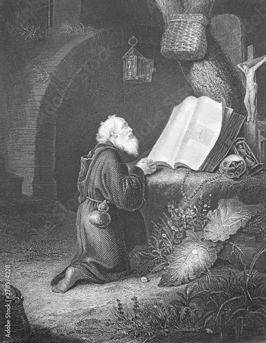The hermit by Gerard Dova engraved in the vintage book the Painting Galleries of Europe, by M Fototapet