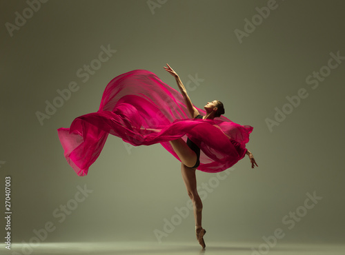 Slika na platnu Graceful ballet dancer or classic ballerina dancing isolated on grey studio background