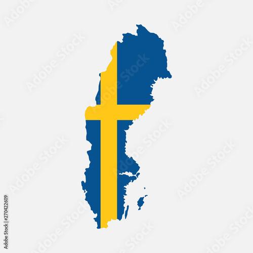 Wallpaper Mural Sweden map flag on white background