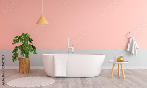Fotografija Pink bathroom interior bathtub, 3D rendering