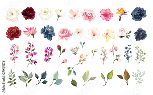 Set of floral elements. Flower red, burgundy, navy blue rose, green leaves. Wedding concept - flowers. Floral poster, invite. Vector arrangements for greeting card or invitation design