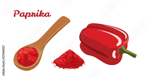 Fotografija Red Bell Pepper and Paprika powder in wooden spoon isolated on white background