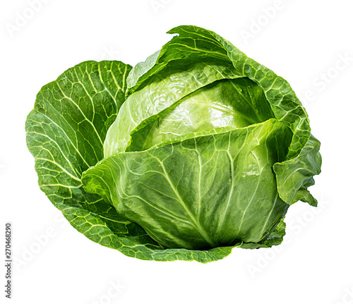 Fotografía Green cabbage isolated on white background