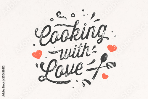 Gotowanie z miłością. Plakat kuchenny Dekoracja ścienna kuchni, znak, cytat