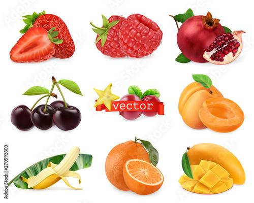 Wall mural Fresh fruits and berries. Strawberry, raspberry, pomegranate, cherry, apricot, banana, orange, mango. 3d realistic vector set