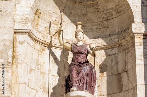 Canvas Print La dea Minerva in front of Senatorial Palace From Rome