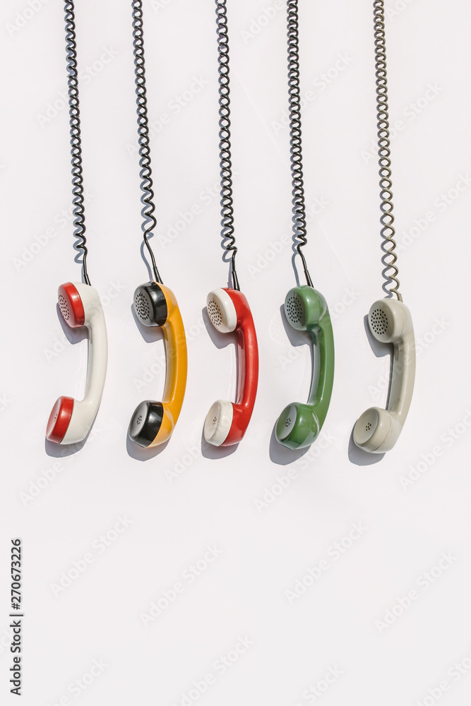retro colorful phone handsets