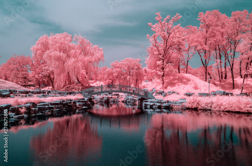 Photo The trees in the old Summer Palace of Beijing, in infrared light