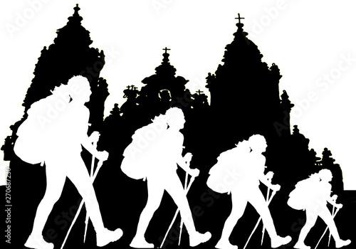 Billede på lærred il cammino di Santiago de Compostela