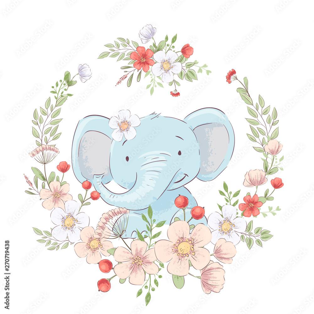 Postcard poster cute little elephant in a wreath of flowers. Hand drawing. Vector <span>plik: #270719438   autor: Yuliya</span>