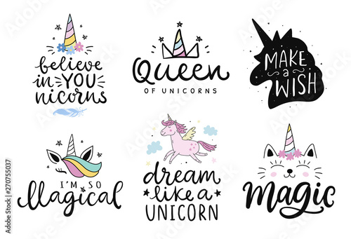 Photo Unicorns vector cute hand drawn lettering poster templates set
