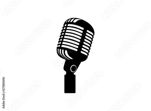 Retro vintage microphone vector on white background Fototapeta