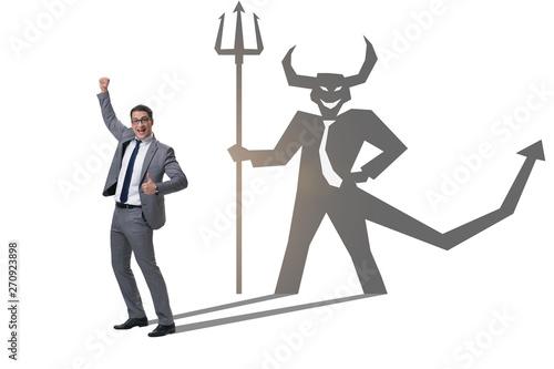 Canvas Print Devil hiding in the businessman - alter ego concept