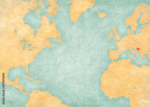 Photo Map of North Atlantic Ocean - Bosnia and Herzegovina