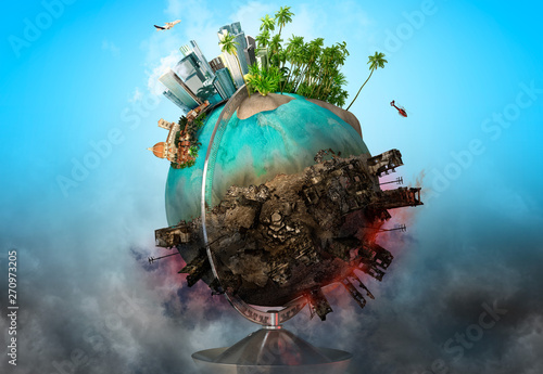 Earth globe with peace and war battle ruined areas. Apocalypse, world saving, environment ecology, pollution, peace and world war concept. 3D illustration