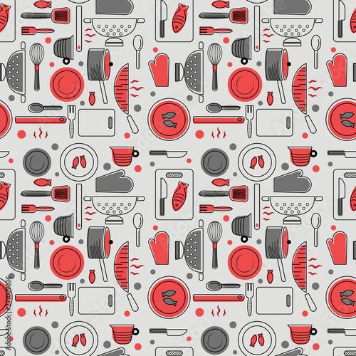 Ταπετσαρία τοιχογραφία Home kitchen seamless geometric pattern