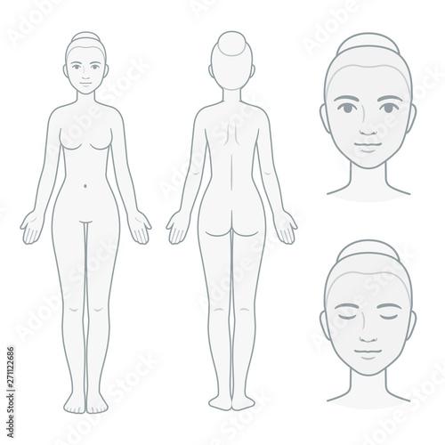 Female body and face chart Fototapeta