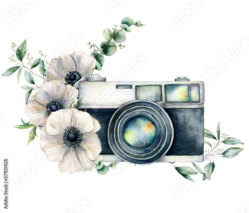 Photographie Watercolor card composition with camera and anemone bouquet