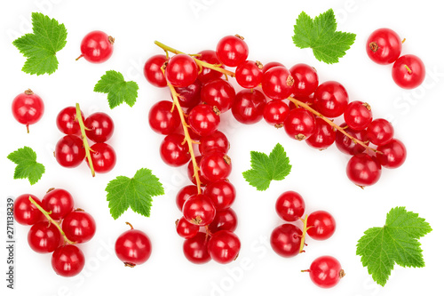Wallpaper Mural Red currant berry with leaf isolated on white background
