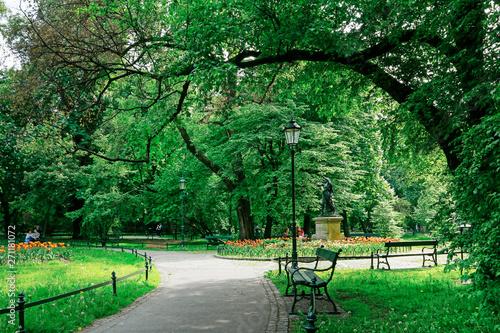 Photo KRAKOW, POLAND - JUNE 12, 2017: Planty, public city park