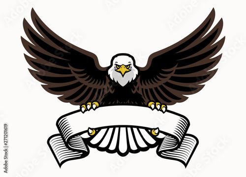 mascot eagle grip the blank ribbon Fototapet