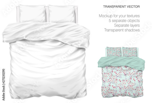 Fényképezés Vector blank white bed mock up for your design and fabric textures