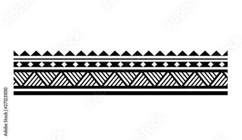 Fotografie, Obraz Tattoo tribal maori pattern bracelet, polynesian ornamental  border design seaml