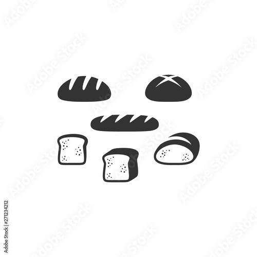 Fotografía Bread types, french bread, sliced bread black vector icon set