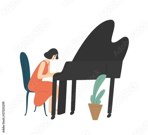 Obraz na plátně Young woman playing grand piano